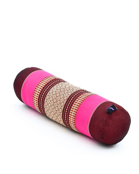 Leewadee Small Yoga Bolster Pilates Supportive Roll Cushion Neck Pillow Eco-Friendly Organic and Natural, 55x15x15 cm, Kapok, auburn pink