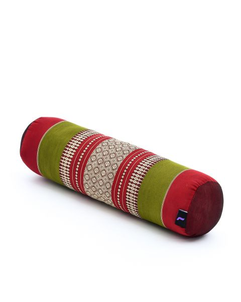 Leewadee Small Yoga Bolster Pilates Supportive Roll Cushion Neck Pillow Eco-Friendly Organic and Natural, 55x15x15 cm, Kapok, green red