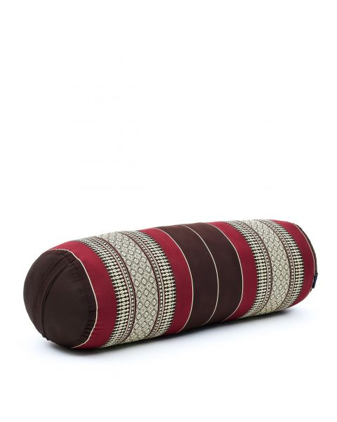 Leewadee Long Yoga Bolster Supportive Pilates Roll Cushion Neck Pillow Eco-Friendly Organic and Natural, 65x25x25 cm, Kapok, brown red