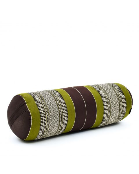 Leewadee Long Yoga Bolster Supportive Pilates Roll Cushion Neck Pillow Eco-Friendly Organic and Natural, 65x25x25 cm, Kapok, brown green