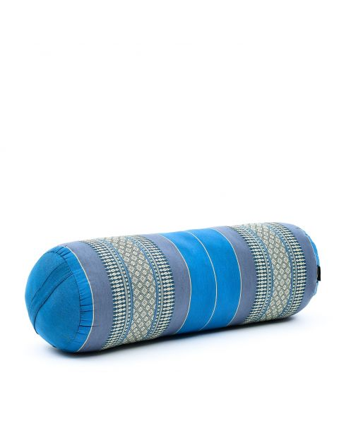 Leewadee Long Yoga Bolster Supportive Pilates Roll Cushion Neck Pillow Eco-Friendly Organic and Natural, 65x25x25 cm, Kapok, light blue