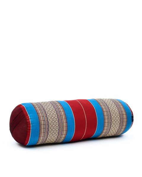 Leewadee Long Yoga Bolster Supportive Pilates Roll Cushion Neck Pillow Eco-Friendly Organic and Natural, 65x25x25 cm, Kapok, blue red