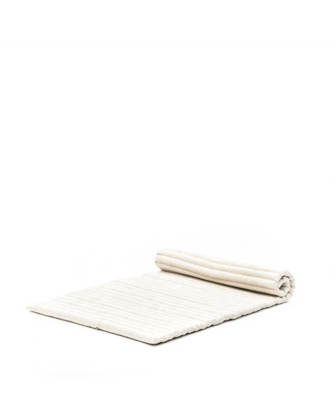Leewadee XL Roll-Up Thai Mattress Twinsize Guest Bed Yoga Floor Mat Thai Massage Pad Eco-Friendly Organic and Natural, 79x41x2 inches, Kapok, white