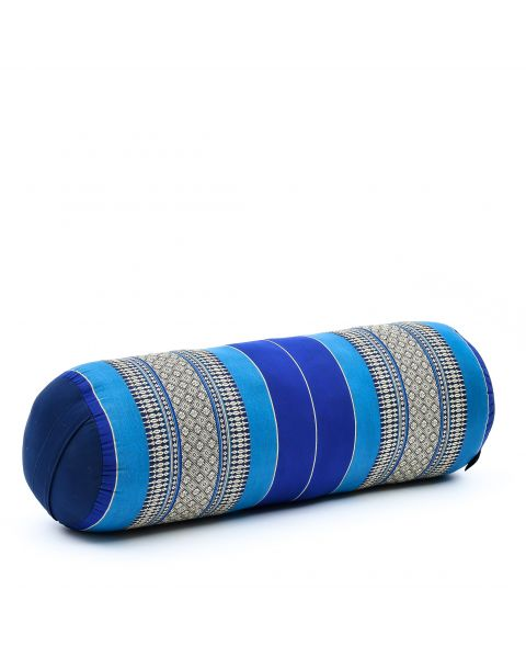 Leewadee Long Yoga Bolster Supportive Pilates Roll Cushion Neck Pillow Eco-Friendly Organic and Natural, 65x25x25 cm, Kapok, blue