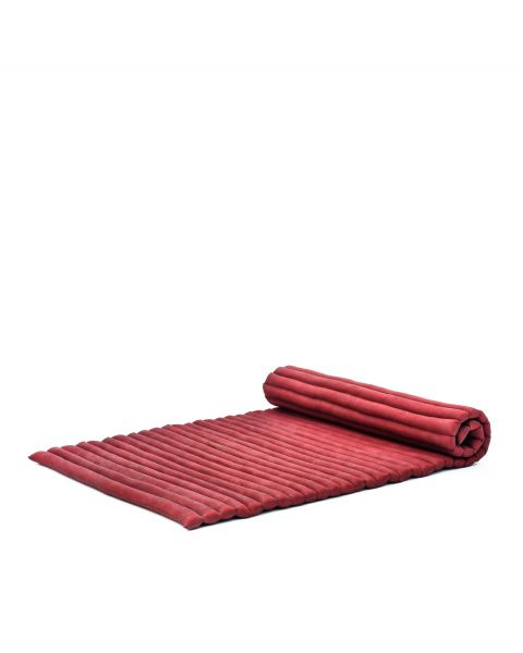 Leewadee XL Roll-Up Thai Mattress Twinsize Guest Bed Yoga Floor Mat Thai Massage Pad Eco-Friendly Organic and Natural, 79x41x2 inches, Kapok, red