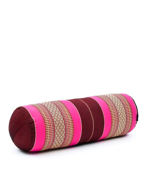 Leewadee Long Yoga Bolster Supportive Pilates Roll Cushion Neck Pillow Eco-Friendly Organic and Natural, 65x25x25 cm, Kapok, auburn pink