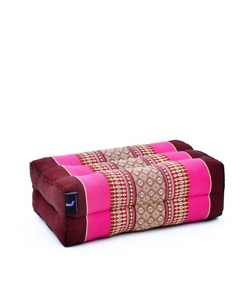 Leewadee Yoga Block Pilates Brick Eco-Friendly Organic and Natural, 35x18x12 cm, Kapok, auburn pink