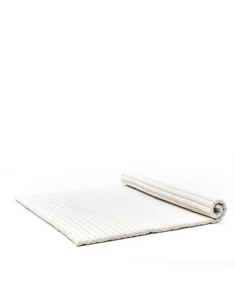 Leewadee Roll-Up Thai Mattress, 79x59x2 inches, Guest Bed Yoga Floor Mat Thai Massage Pad XL Twinsize Eco-Friendly Organic and Natural,  Kapok, white