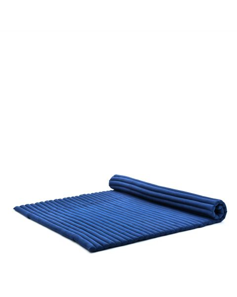 Leewadee Roll-Up Thai Mattress, 79x59x2 inches, Guest Bed Yoga Floor Mat Thai Massage Pad XL Twinsize Eco-Friendly Organic and Natural,  Kapok, blue