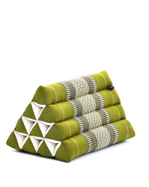 Leewadee Coussin Triangle Coussin De Lecture Dossier Oreiller De Télévision Produit Naturel Et Écologique, 50x33x33 cm, Kapok, vert