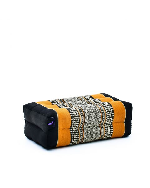 Leewadee Yoga Block Pilates Brick Eco-Friendly Organic and Natural, 35x18x12 cm, Kapok, black orange
