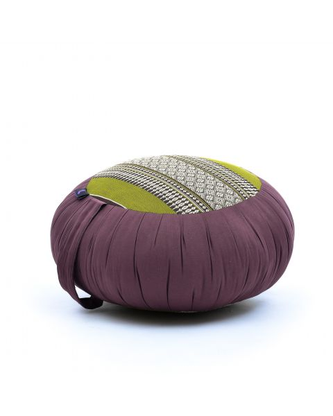 Leewadee Meditation Cushion Round Zafu Pillow For Floor Seating Eco-Friendly Organic and Natural, 16x8 inches, Kapok, brown green