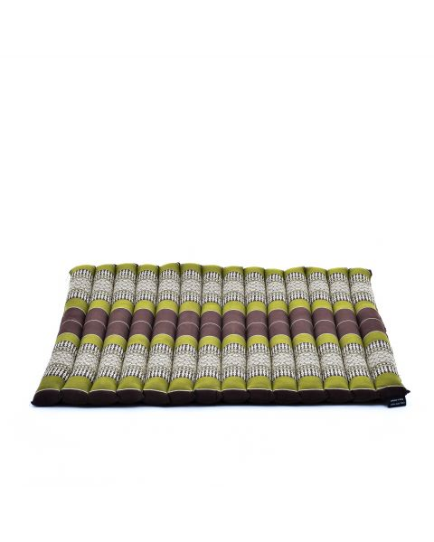 Leewadee Meditation Cushion Large Square Zabuton Mat For Floor Seating Eco-Friendly Organic and Natural, 27x31x1.7 inches, Kapok, brown green