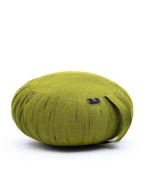 Leewadee Meditation Cushion Round Zafu Pillow For Floor Seating Eco-Friendly Organic and Natural, 40x20 cm, Kapok, green