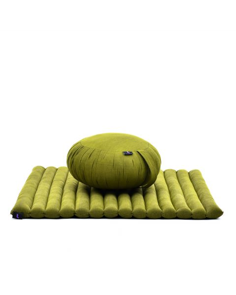 Leewadee Meditation Cushion Set: Round Zafu Pillow And Large Square Zabuton Mat For Floor Seating Eco-Friendly Organic And Natural, Kapok, green