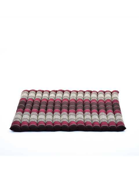 Leewadee Meditation Cushion Large Square Zabuton Mat For Floor Seating Eco-Friendly Organic and Natural, 27x31x2 inches, Kapok, brown red