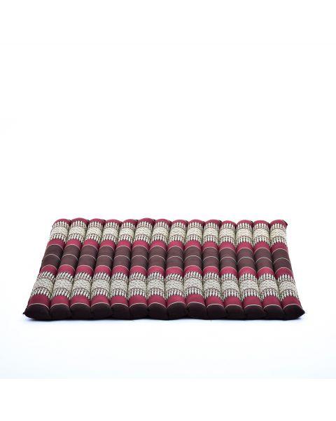 Leewadee Meditation Cushion Large Square Zabuton Mat For Floor Seating Eco-Friendly Organic and Natural, 27x31x1.7 inches, Kapok, brown red