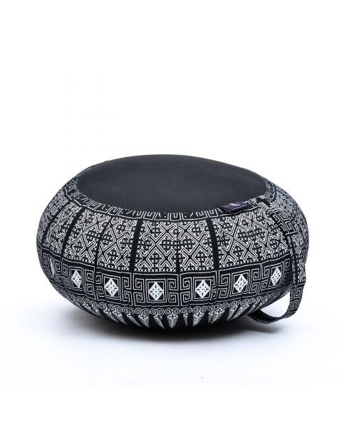 Leewadee Meditation Cushion Round Zafu Pillow For Floor Seating Eco-Friendly Organic and Natural, 16x8 inches, Kapok, black