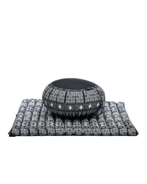 Leewadee Meditation Cushion Set: Round Zafu Pillow and Large Square Zabuton Mat For Floor Seating Eco-Friendly Organic and Natural, Kapok, black