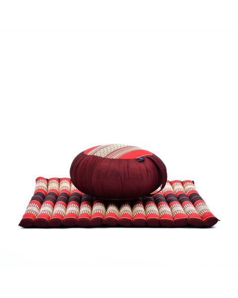 Leewadee Meditation Cushion Set: Round Zafu Pillow and Large Square Zabuton Mat For Floor Seating Eco-Friendly Organic and Natural, Kapok, red