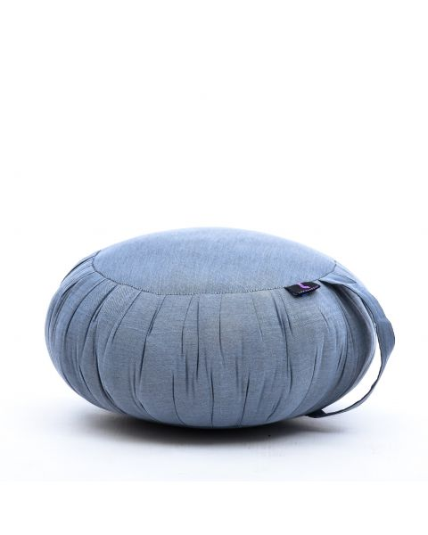 Leewadee Meditation Cushion Round Zafu Pillow For Floor Seating Eco-Friendly Organic And Natural, 16x8 inches, Kapok, grey