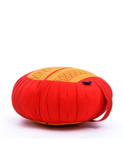 Leewadee Meditation Cushion Round Zafu Pillow For Floor Seating Eco-Friendly Organic and Natural, 40x20 cm, Kapok, orange red