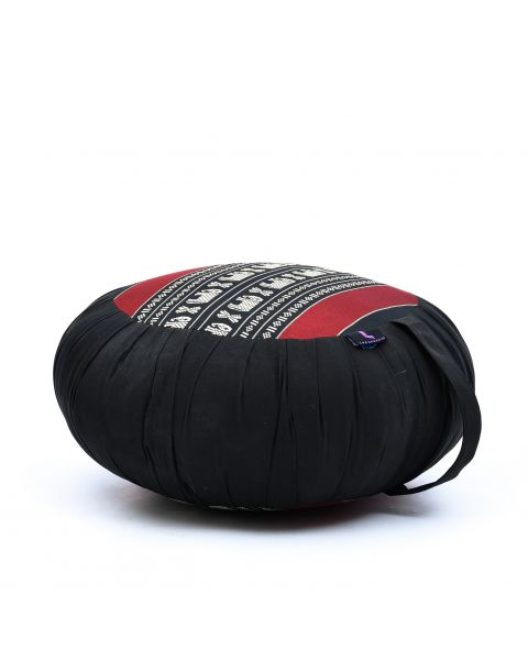 Leewadee Meditation Cushion Round Zafu Pillow For Floor Seating Eco-Friendly Organic And Natural, 16x8 inches, Kapok, black red