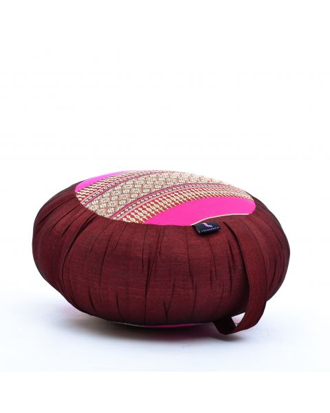 Leewadee Meditation Cushion Round Zafu Pillow For Floor Seating Eco-Friendly Organic and Natural, 40x20 cm, Kapok, auburn pink