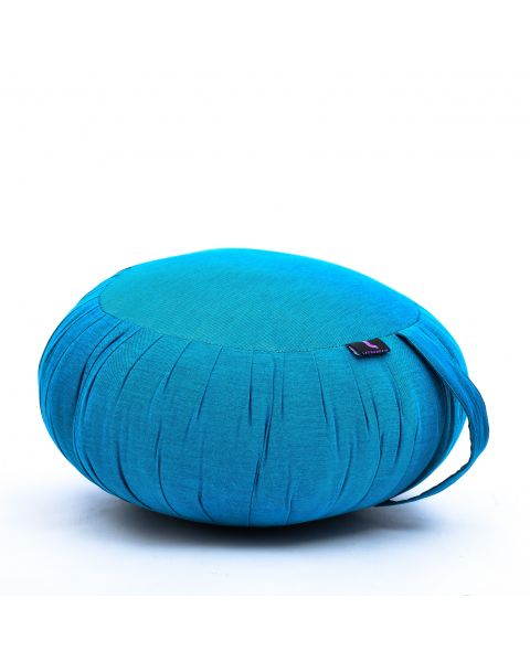 Leewadee Meditation Cushion Round Zafu Pillow For Floor Seating Eco-Friendly Organic and Natural, 40x20 cm, Kapok, light blue