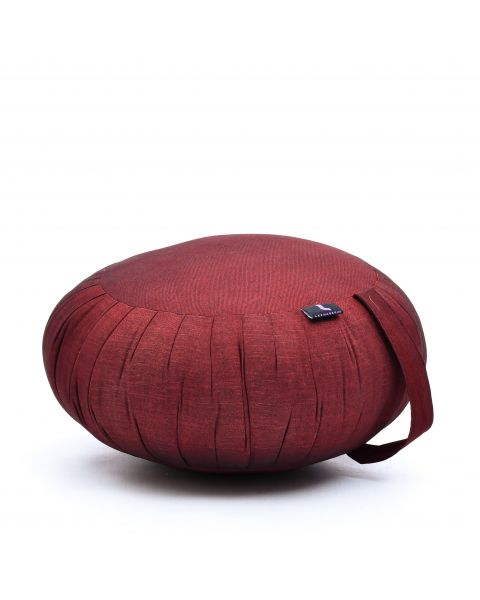 Leewadee Meditation Cushion Round Zafu Pillow For Floor Seating Eco-Friendly Organic and Natural, 40x20 cm, Kapok, red