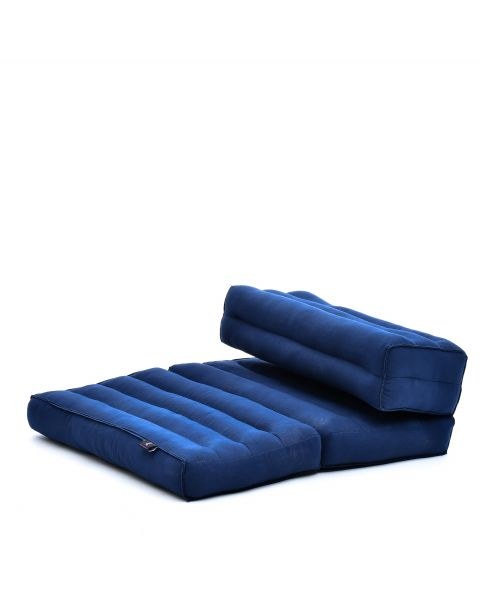 Leewadee Foldable Meditation Floor Seat 2 in 1 Set Meditation Pillow And Cushion Underlay In One Eco-Friendly Organic And Natural, Kapok, blue