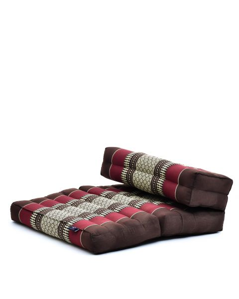 Leewadee Foldable Meditation Floor Seat 2 in 1 Set Meditation Pillow and Cushion Underlay In One Eco-Friendly Organic and Natural, Kapok, brown red