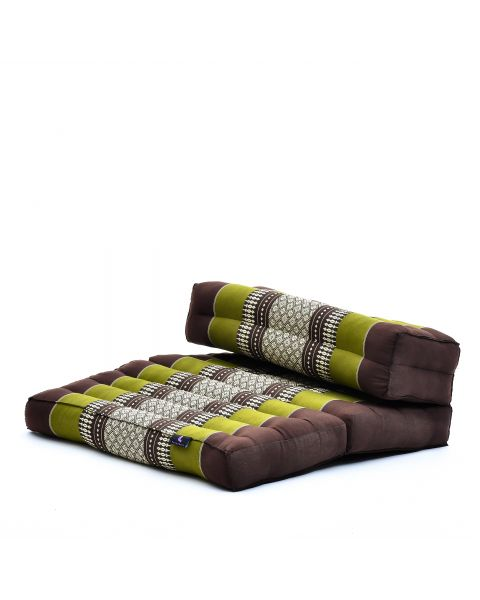 Leewadee Foldable Meditation Floor Seat 2 in 1 Set Meditation Pillow And Cushion Underlay In One Eco-Friendly Organic And Natural, Kapok, brown green