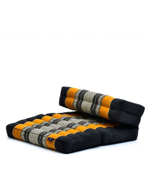Leewadee Foldable Meditation Floor Seat 2 in 1 Set Meditation Pillow and Cushion Underlay In One Eco-Friendly Organic and Natural, Kapok, black orange