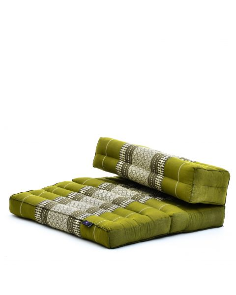 Leewadee Foldable Meditation Floor Seat 2 in 1 Set Meditation Pillow and Cushion Underlay In One Eco-Friendly Organic and Natural, Kapok, green