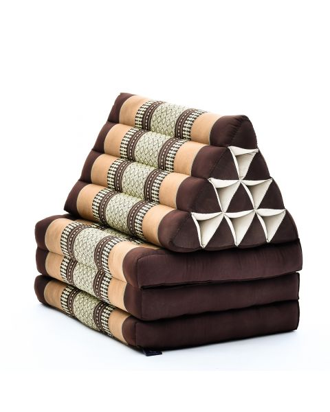 Leewadee Foldout Triangle Thai-Cushion Floor-Seat with Back-Rest TV Pillow Lounge-r Foldable Out-Door Mattress, 67x21x16 inches, Kapok, brown