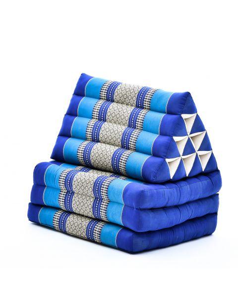Leewadee Colchón Tailandés Alfombra Plegable Con Cojín Triangular Cojín De Suelo Cojín De Lectura Colchoneta De Relajación Orgánico Naturalmente Ecológico, 170x53x30 cm, Capok, azul