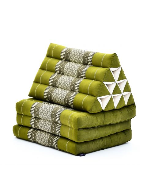 Leewadee Foldout Triangle Thai-Cushion Floor-Seat with Back-Rest TV Pillow Lounge-r Foldable Out-Door Mattress, 170x53x30 cm, Kapok, green