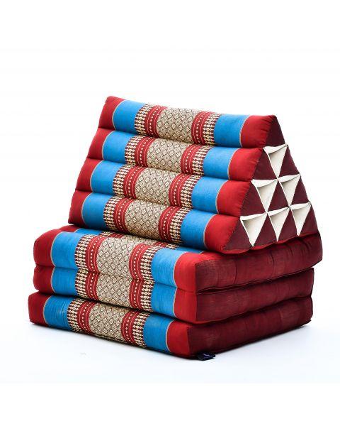 Leewadee Colchón Tailandés Alfombra Plegable Con Cojín Triangular Cojín De Suelo Cojín De Lectura Colchoneta De Relajación Orgánico Naturalmente Ecológico, 170x53x30 cm, Capok, azul rojo