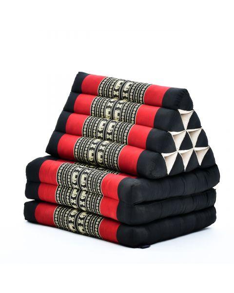 Leewadee Colchón Tailandés Alfombra Plegable Con Cojín Triangular Cojín De Suelo Cojín De Lectura Colchoneta De Relajación Orgánico Naturalmente Ecológico, 170x53x30 cm, Capok, negro rojo