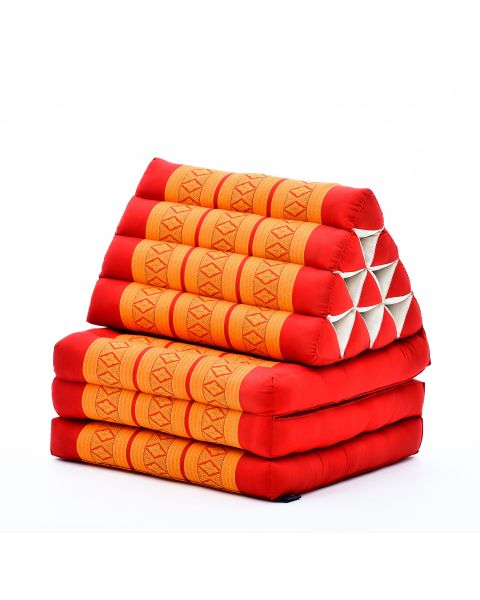 Leewadee Foldout Triangle Thai-Cushion Floor-Seat with Back-Rest TV Pillow Lounge-r Foldable Out-Door Mattress, 67x21x16 inches, Kapok, orange red