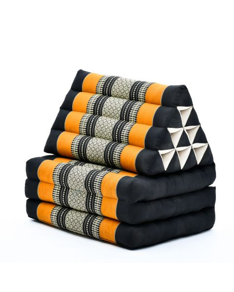 Leewadee Foldout Triangle Thai-Cushion Floor-Seat with Back-Rest TV Pillow Lounge-r Foldable Out-Door Mattress, 67x21x16 inches, Kapok, black orange