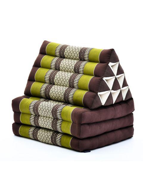 Leewadee Colchón Tailandés Alfombra Plegable Con Cojín Triangular Cojín De Suelo Cojín De Lectura Colchoneta De Relajación Orgánico Naturalmente Ecológico, 170x53x30 cm, Capok, marrón verde