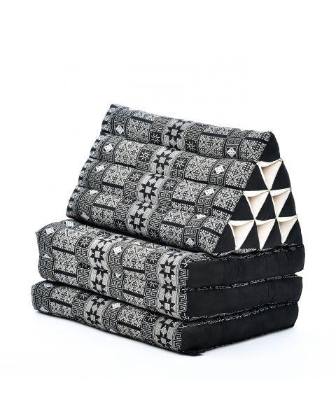Leewadee Colchón Tailandés Alfombra Plegable Con Cojín Triangular Cojín De Suelo Cojín De Lectura Colchoneta De Relajación Orgánico Naturalmente Ecológico, 170x53x30 cm, Capok, antracita negro