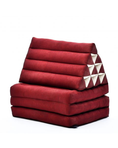 Leewadee Foldout Triangle Thai-Cushion Floor-Seat with Back-Rest TV Pillow Lounge-r Foldable Out-Door Mattress, 170x53x30 cm, Kapok, red