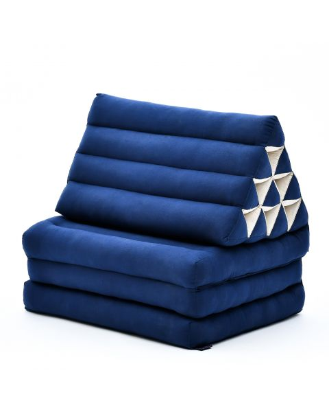 Leewadee Foldout Triangle Thai-Cushion Floor-Seat with Back-Rest TV Pillow Lounge-r Foldable Out-Door Mattress, 170x53x30 cm, Kapok, blue
