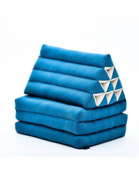 Leewadee Foldout Triangle Thai-Cushion Floor-Seat with Back-Rest TV Pillow Lounge-r Foldable Out-Door Mattress, 67x21x16 inches, Kapok, light blue