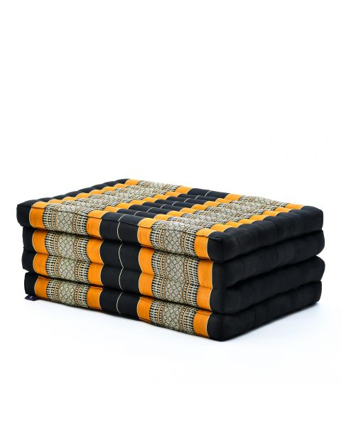 Leewadee Foldable Thai Mattress, 200x80x8 cm, Guest Bed Tri-Fold Yoga Floor Mat Thai Massage Pad TV Floor Seat with Backrest Game Chair Eco-Friendly Organic and Natural,  Kapok, black orange