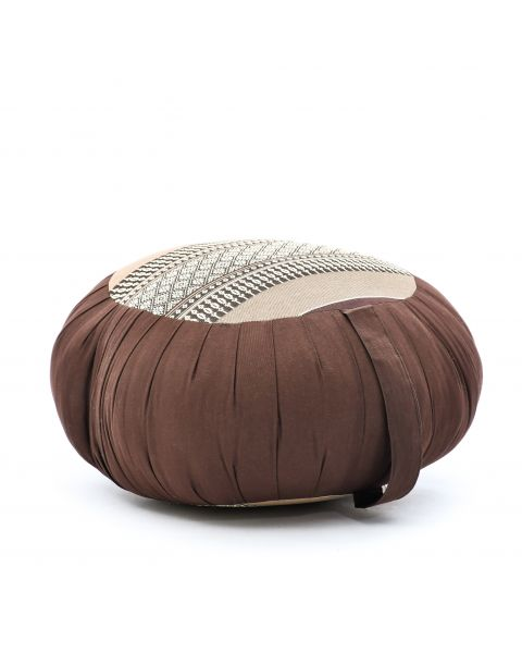 Leewadee Meditation Cushion Round Zafu Pillow For Floor Seating Eco-Friendly Organic and Natural, 16x8 inches, Kapok, brown