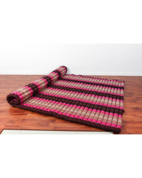 Leewadee Roll-Up Thai Mattress, 79x59x2 inches, Guest Bed Yoga Floor Mat Thai Massage Pad XL Twinsize Eco-Friendly Organic and Natural,  Kapok, auburn pink